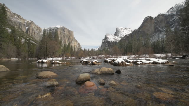 yosemite valley view winter - yosemite national park stock videos & royalty-free footage