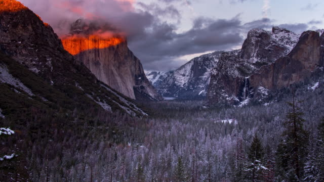 yosemite valley winter landschaftsmontage - yosemite nationalpark stock-videos und b-roll-filmmaterial