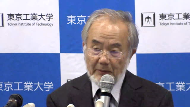 yoshinori ohsumi attends a press conference on october 3 2016 in tokyo japan japanese microbiologist yoshinori ohsumi won the 2016 nobel prize in... - biological process stock videos and b-roll footage