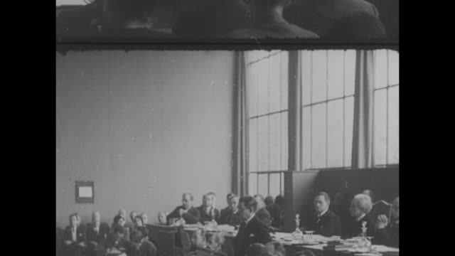 "yosuke matsuoka of the japanese delegation to the league of nations reads fiery speech in defense of japan's actions in manchuria; ""china has long... - 外交点の映像素材/bロール"