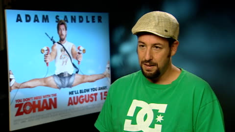 'you don't mess with the zohan': interviews; adam sandler interview sot - discusses new film, 'you don't mess with the zohan' - adam sandler stock videos & royalty-free footage