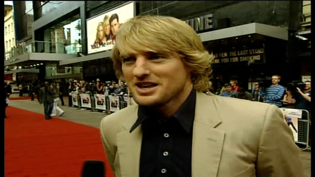 'you, me and dupree' film premiere; england: london: leicester square: ext owen wilson live interview sot - i guess somebody was forecasting rain, so... - オーウェン・ウィルソン点の映像素材/bロール