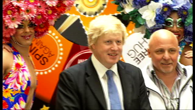 yougov poll shows that sir alan sugar would beat boris johnson if he stood for london mayor johnson posing for press photocall with dancers from... - alan sugar stock videos & royalty-free footage