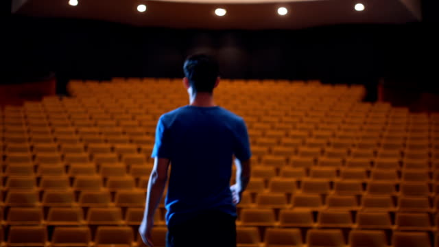 young actor bowing to the empty theater - stage performance space stock videos & royalty-free footage