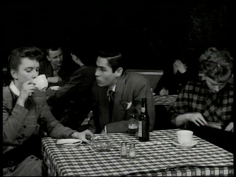 young actors at table in restaurant male talking about audition female saying she heard garson canon is casting friday 'maggie' making note about... - 1949 stock videos and b-roll footage