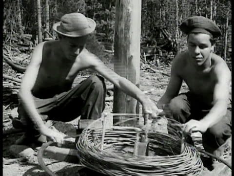 young adult males of civilian conservation corps working in forest w/ logs putting up electric wires on pole breaking rocks w/ lumber driving tractor... - civilian conservation corps stock-videos und b-roll-filmmaterial