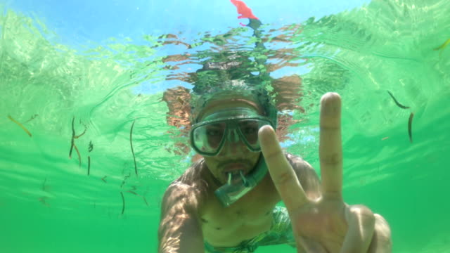 young adult man showing thumbs up and peace sign while snorkeling - v sign stock videos & royalty-free footage