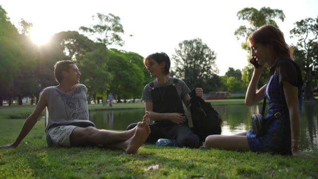 young adult man sitting with his friends in a park while on a phone call - summer reading stock videos & royalty-free footage