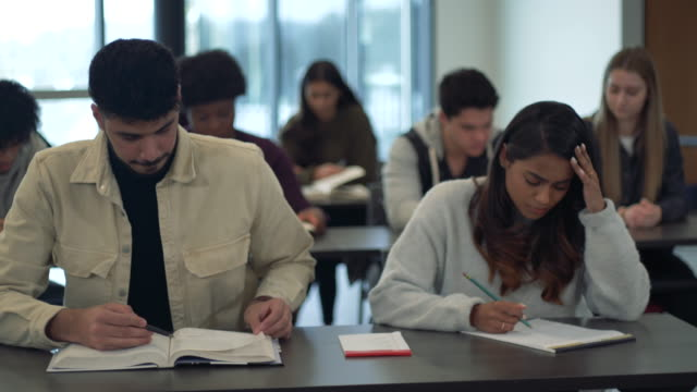 young adult students studying in class. - person in education stock videos & royalty-free footage