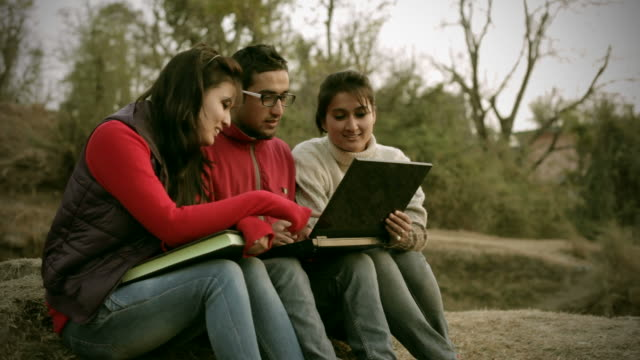 Young adult students using laptop in rural area