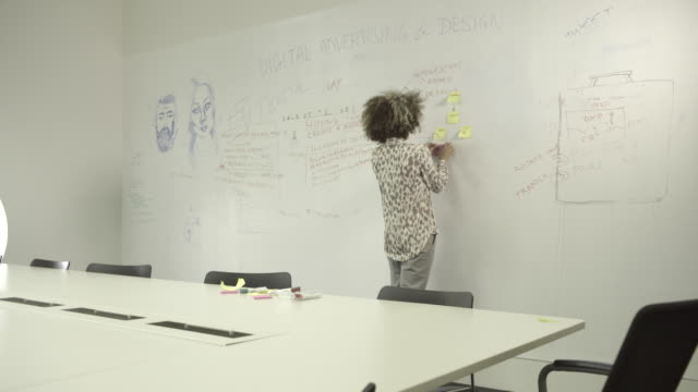 Young adult woman writing on white board in office