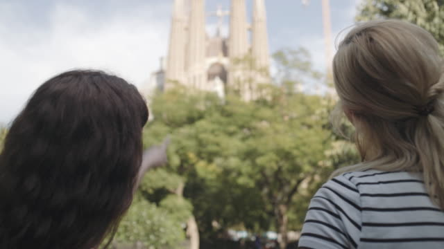 Young adult women taking picture of Cathedral, Barcelona