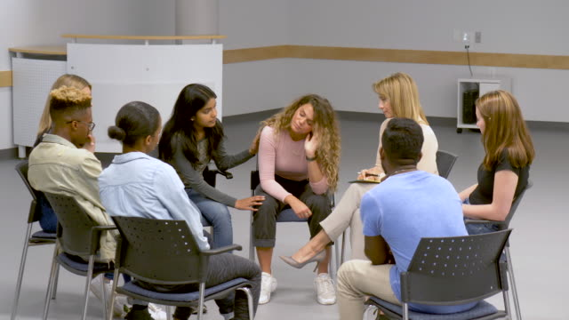 young adults at group therapy - group therapy stock videos & royalty-free footage