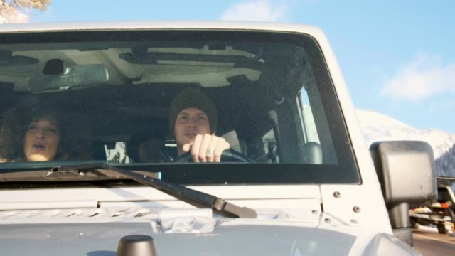 Young Adults Enjoying a Winter Drive