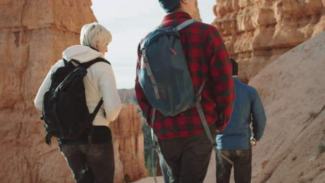 4k uhd: young adults hiking into bryce canyon - canyon stock videos and b-roll footage