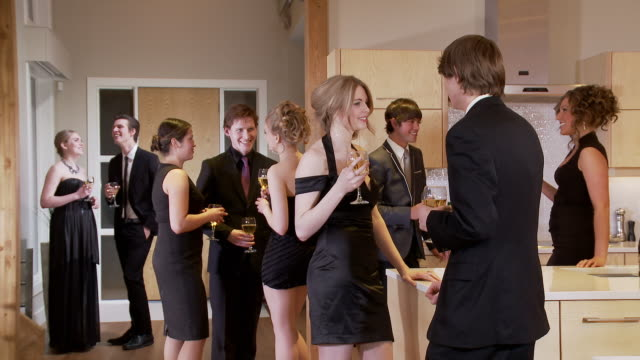 young adults in a party scene - formal stock videos and b-roll footage