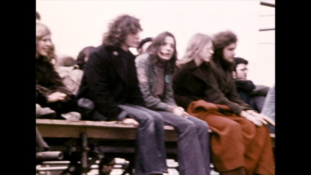 young adults nod heads to music at festival; 1972 - warm clothing stock videos & royalty-free footage