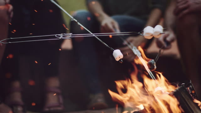 vídeos de stock e filmes b-roll de 4k uhd: young adults roasting marshmallows - acampar