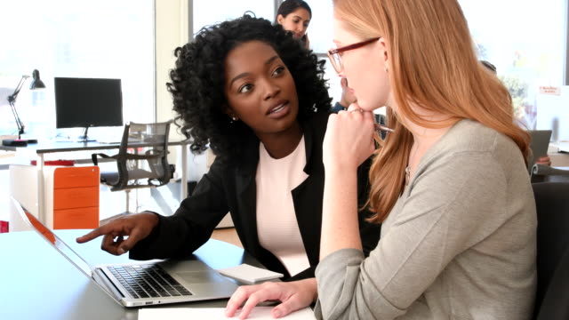 Young African American businesswoman in meeting with female business colleague