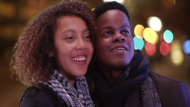 young african american couple admire the nightlife of the city - admiration stock videos and b-roll footage