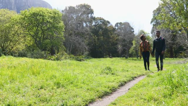 vidéos et rushes de jeune couple africain marchant à travers une prairie d'herbe - footpath