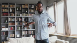 Young african man dancing teacher record tutorial vlog dance class