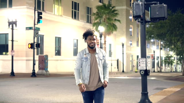 young african-american man with attitude, in the city - denim jacket stock videos & royalty-free footage