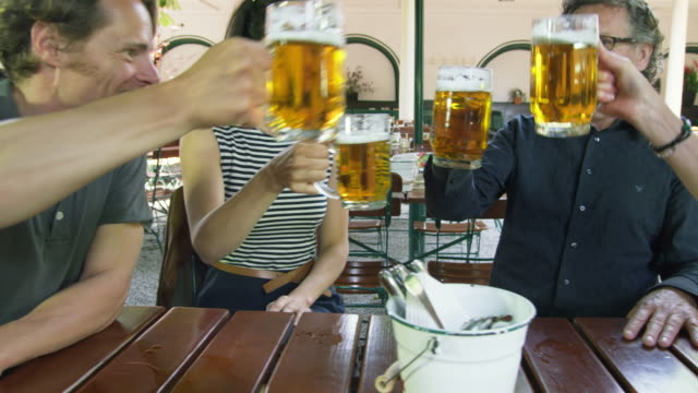 ds ms young and mature couple sitting at table in beer garden engaged in conversation, raising their beer mugs and toasting each other - austria stock videos & royalty-free footage