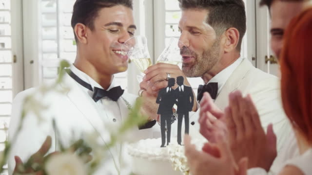 Young and middle age gay couple toast with wedding cake
