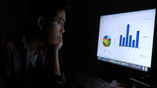 Young Asian businessman working late at home