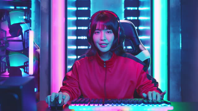 young asian cyber sport gamer - stream stock videos & royalty-free footage