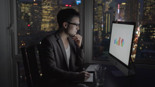 Young Asian Employee Doing Business in Apartment Office with Skyscrapers in the Background. Statistics, Charts and Graphs on the Computer Screen.