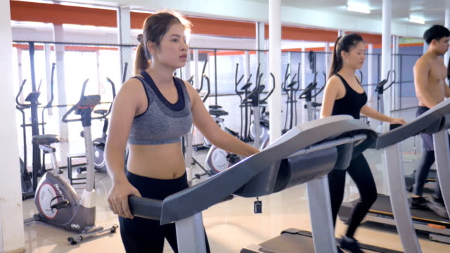 young asian fitness woman cardio workout in gym, healthy lifestyle and cardio training concept - treadmill stock videos & royalty-free footage