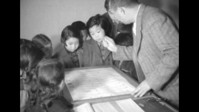 young asian girls and boys looking at paper on table teacher pointing to details on paper / ms two girls and boy looking and listening girl nods that... - 1950点の映像素材/bロール