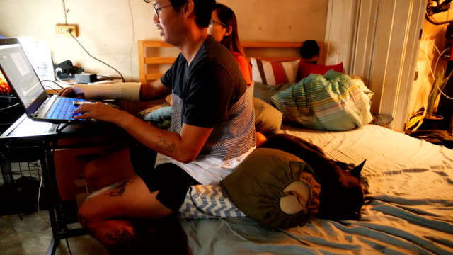 young asian man and woman, at the table working with a laptop with adorable black french bulldog enjoys in bed room , wearing glasses, smiling. concept: new business, business relationships, pet, success, work online. - pet bed stock videos and b-roll footage