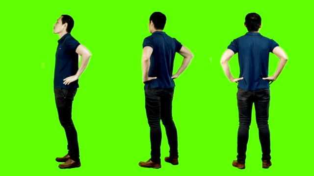 Young asian man casual standing,green background.