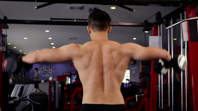 vídeos y material grabado en eventos de stock de jóvenes asiáticos hombro de mancuernas ejercicio muscular hombre levantar en el gimnasio, concepto de estilo de vida deporte y musculación - articulación humana