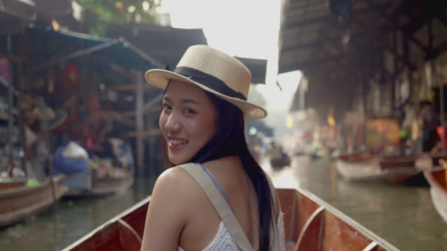 young asian tourist woman travel in thailand. - tourism stock videos & royalty-free footage