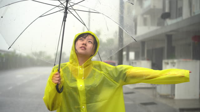 young asian woman drenched in the rain - drenched stock videos & royalty-free footage