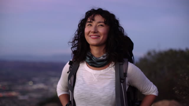 ws young asian woman hiking - emotion stock videos & royalty-free footage