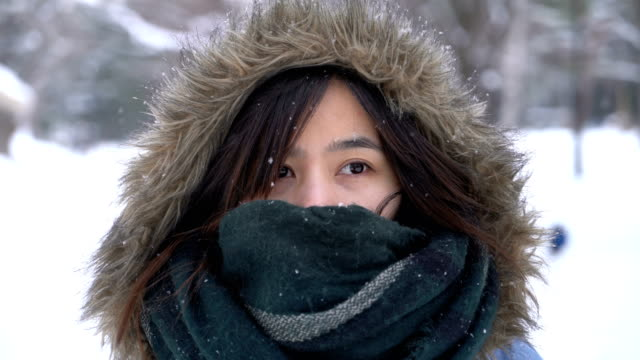 young asian woman in the snowing in maruyama park, sapporo, hokkaido, japan - winter coat stock videos & royalty-free footage