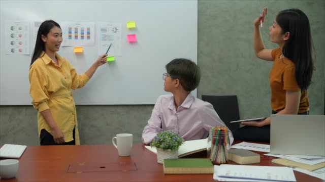 young asian woman presenting ideas on white board while her co working team is watching indoors. business women brainstorming together - instructor stock videos & royalty-free footage