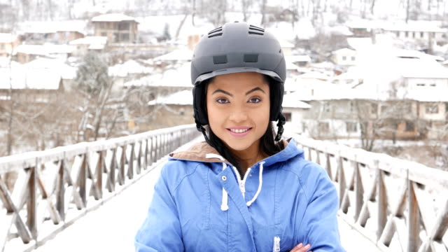 young asian woman winter portrait - helmet stock videos & royalty-free footage