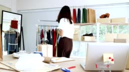 Young asian woman with startup small business entrepreneur freelance working at home