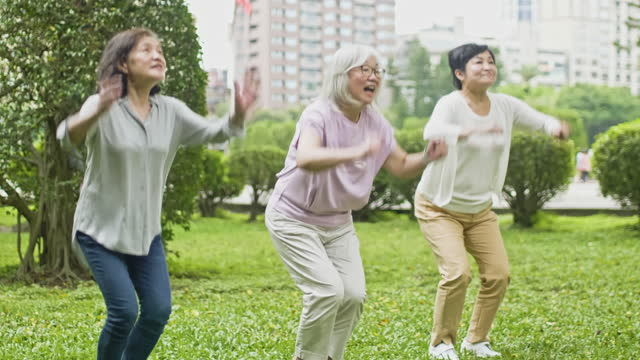 "young at heart chinese senior women jumping together in park - xavierarnau or ""xavier arnau serrat"" stock videos & royalty-free footage"