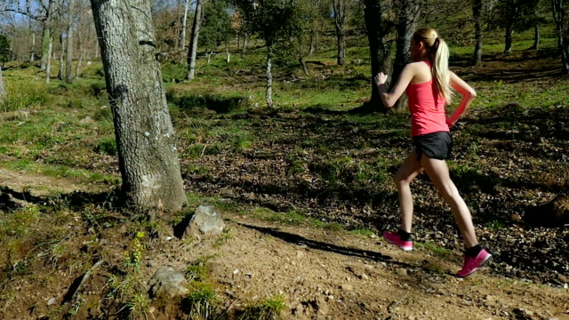young athlete woman running in forest - running shorts stock videos and b-roll footage