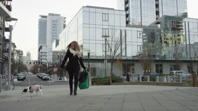 Young Attractive Blonde Woman Walking Her Dog While Shoppiing