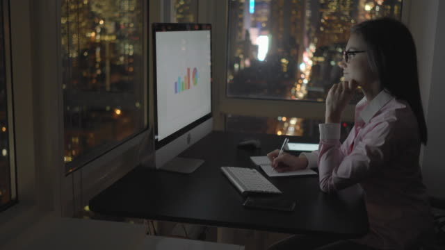 young attractive businesswomen working on computer desk in modern city office at night light. analyzing charts