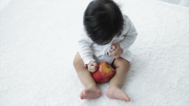 vídeos de stock e filmes b-roll de ws ha young baby holding apple looking to camera/singapore - só um bebé menino