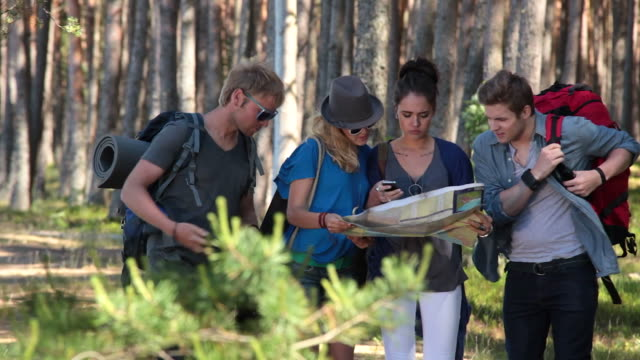 stockvideo's en b-roll-footage met young backpackers lost in forest - richting